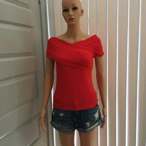 Aritzia Babaton Adalard off the shoulder red top S